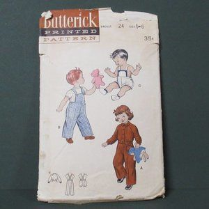 Vtg Child Sunsuit Overalls Ike Jacket Pattern Sz 6
